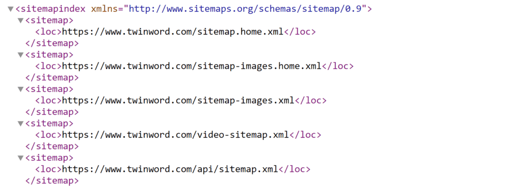 Example of sitemap.xml file using Twinword
