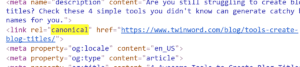 Example of a canonical link tag in HTML