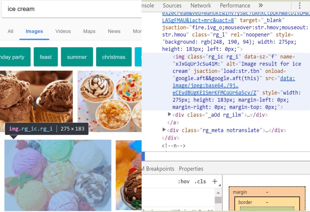Example of image tag alt attribute using icecream