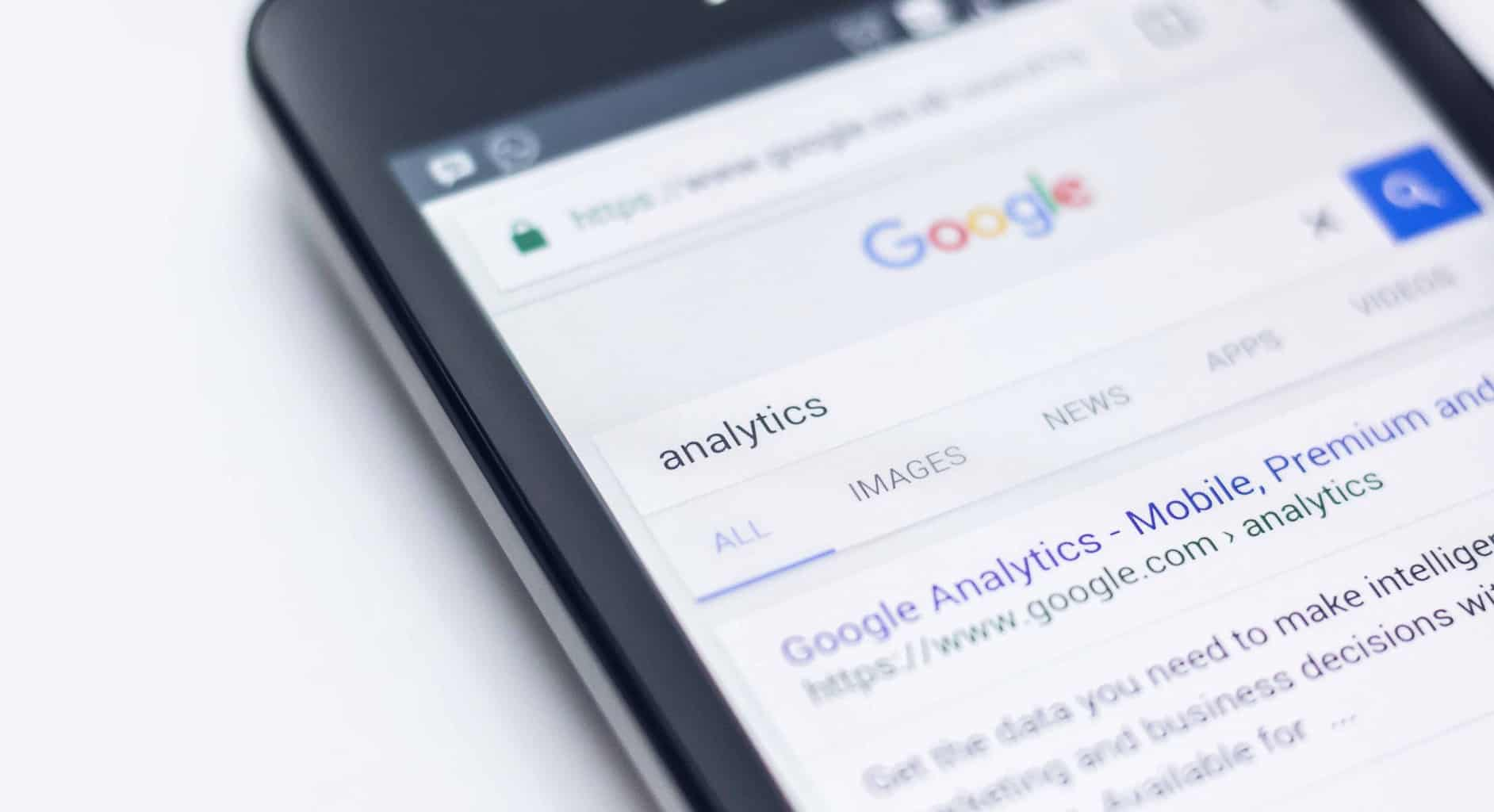 the word 'analytics' was googled and shows 'Google Analytics' as the first search result.