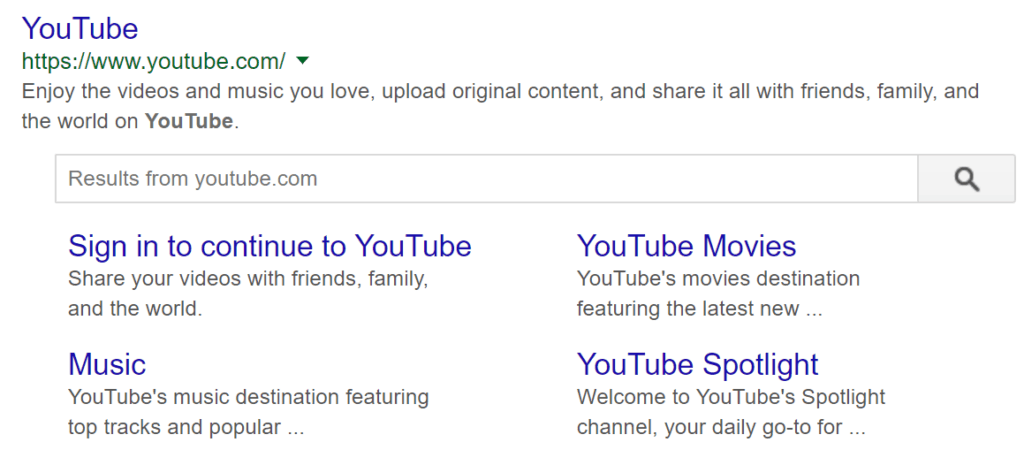 YouTube meta description example