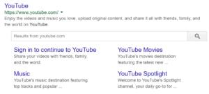 YouTube meta description example