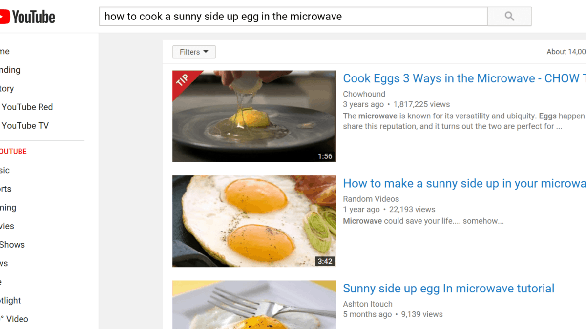 YouTube SERP Search Results Page Screenshot
