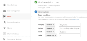 Screenshot of Google Analytics Goal Details Configuration Page
