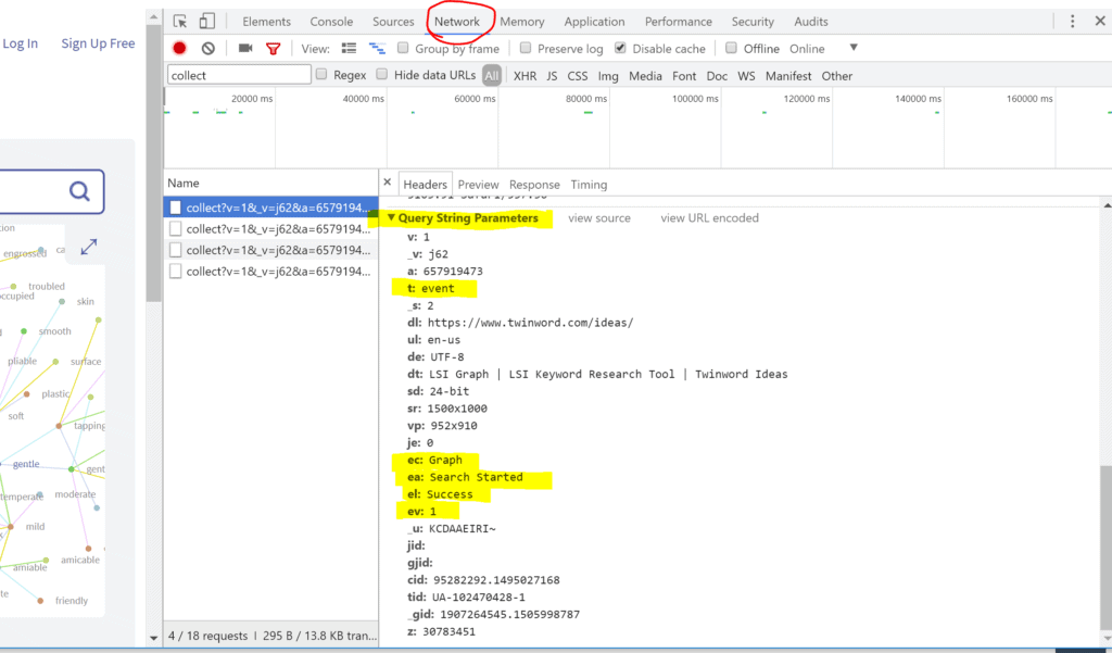Screenshot of Chrome Developer Tools Network Tab Showing Google Analytics Event