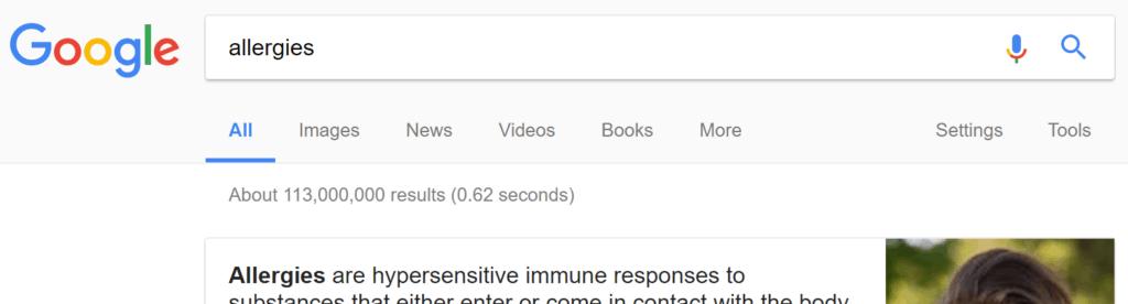 Screenshot of Google SERP of allergies