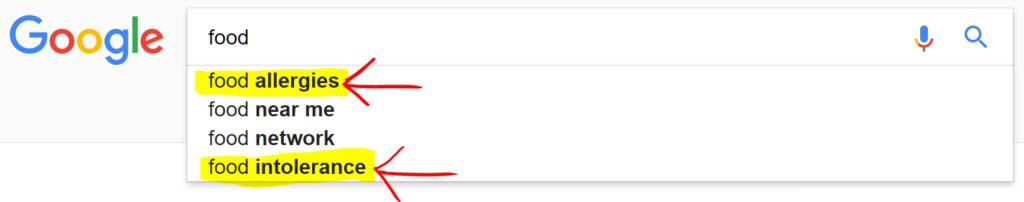 Screenshot of Google Autosuggest suggesting food allergies