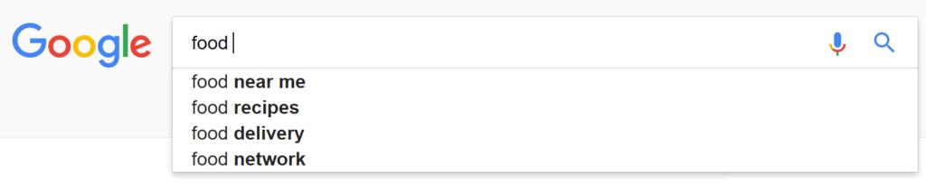 Screenshot of Google Autosuggest suggesting food near me