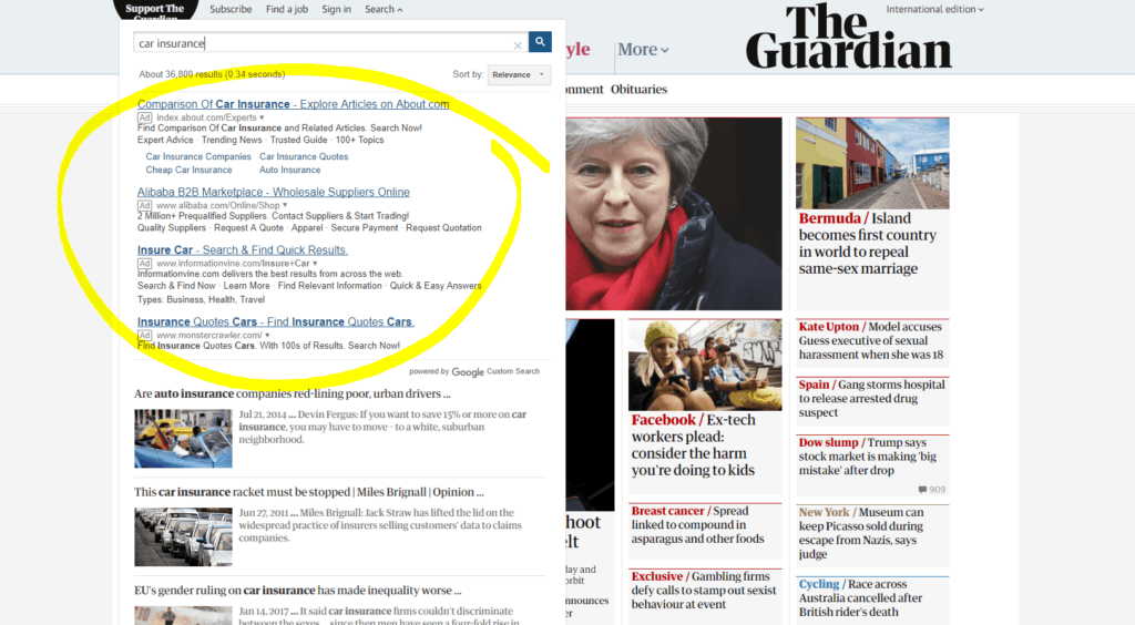 Google Search Partner The Guardian
