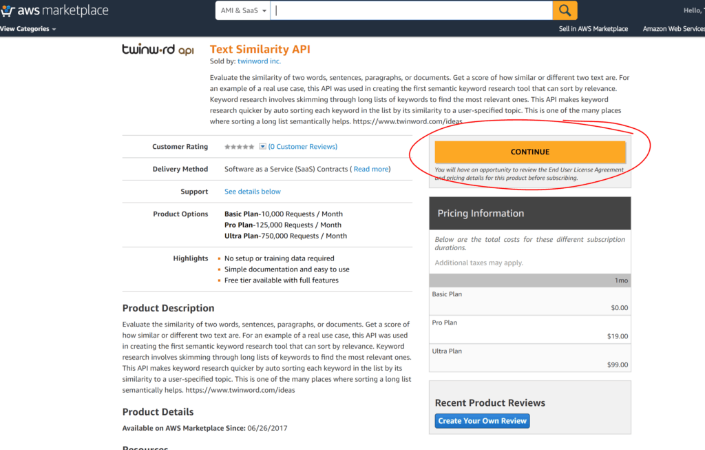 Screenshot of Twinword API listed on AWS Marketplace with Continue button circled