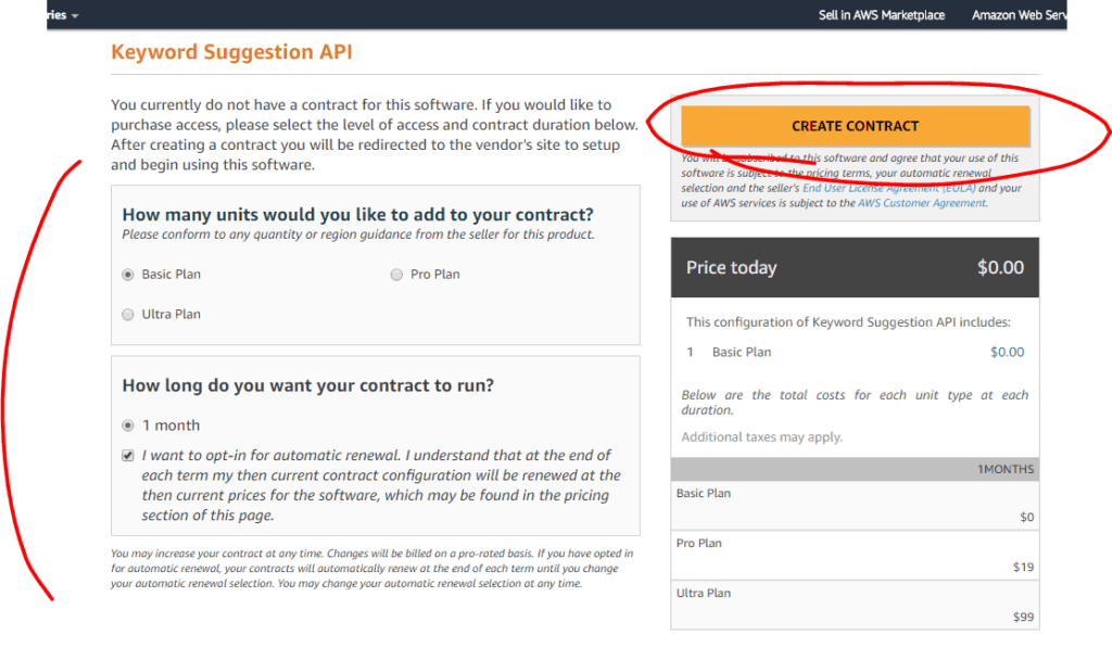 Screenshot of Twinword API listed on AWS Marketplace on the subscribe to plan page with Create-Contract button circled