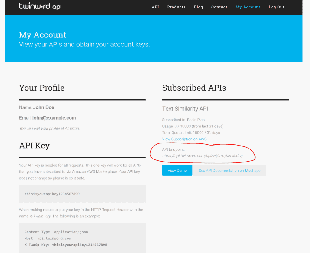 Screenshot of Twinword API My Account page with the endpoint URL circled.