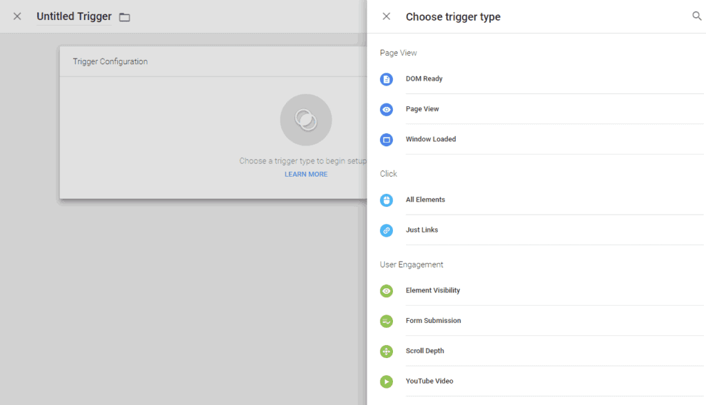 Google Tag Manager Screenshot of Triggers
