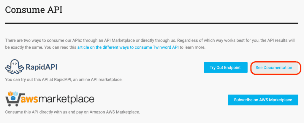 Screenshot of Twinword API page that shows on which API marketplaces our APIs can be consumed.