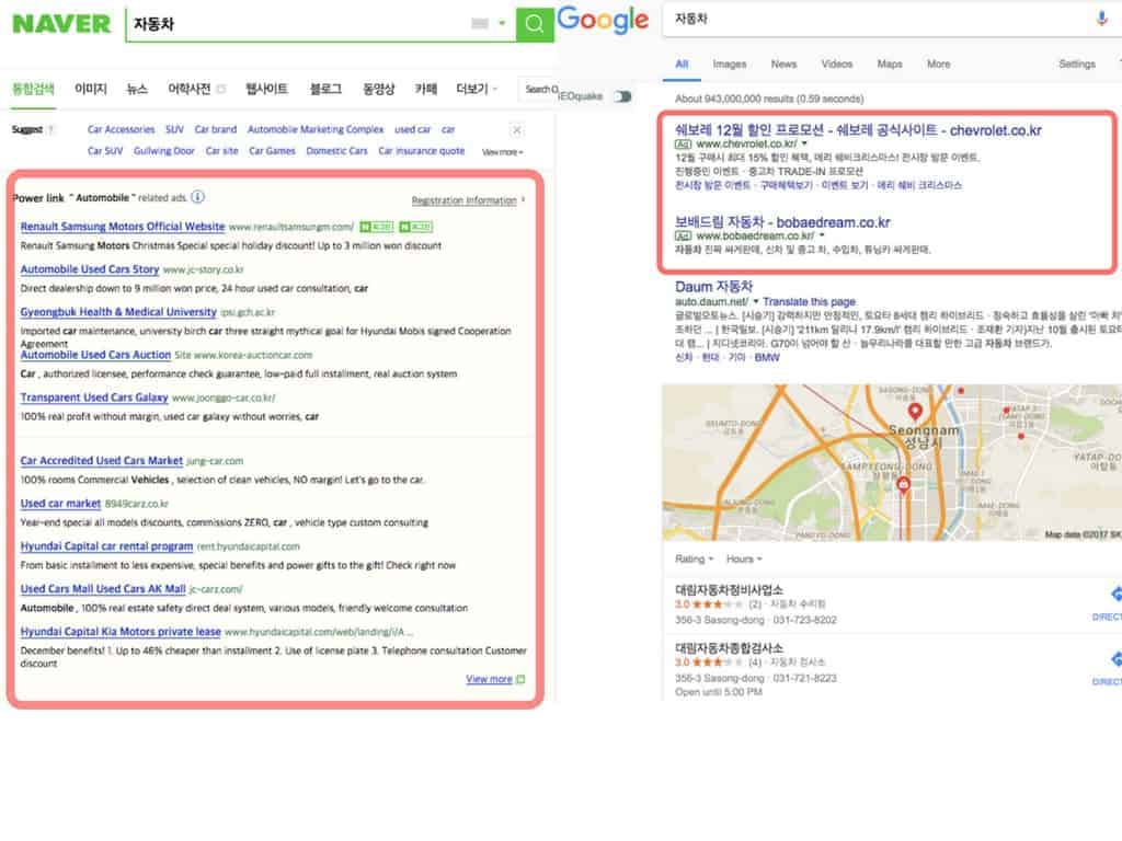 difference between Google and Naver