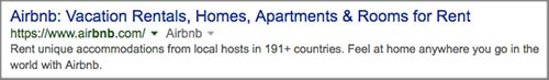 AIRBNB search result.