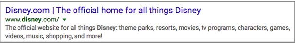 Disney search result