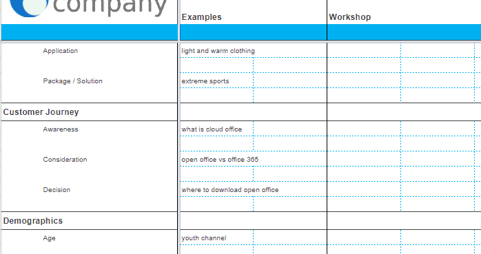 Screenshot of examples and workshop sections of the Client Keyword Brainstorming Template.