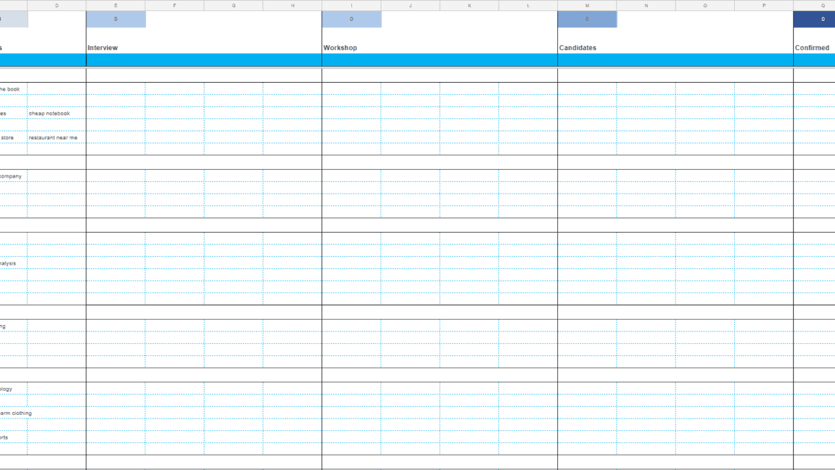 Screenshot of the Client Keyword Brainstorming Template