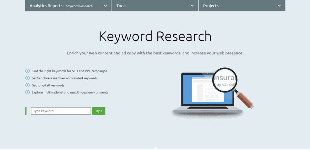 Picture of SEMrush's Keyword Research Tool.