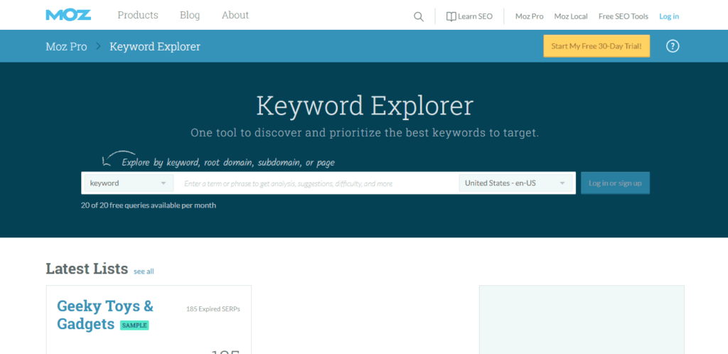 Picture of Moz's Keyword Explorer.