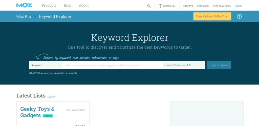 Picture of Moz's Keyword Explorer.