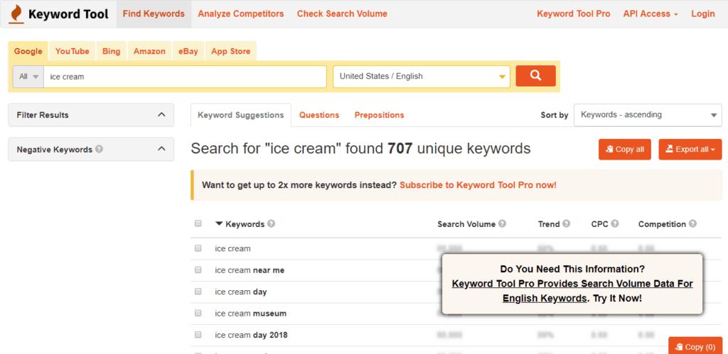 Picture of KeywordTool.io Keyword Tool.