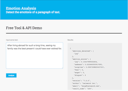 Screenshot of Emotion Analysis API