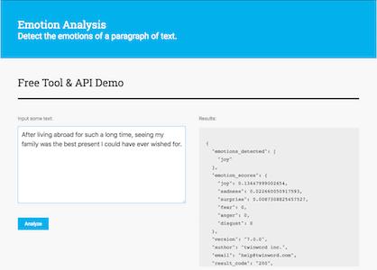 Screenshot of Emotion Analysis API