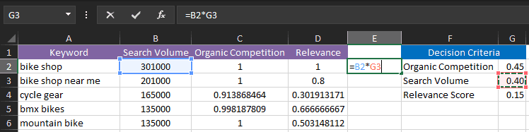Creating an Excel Formula