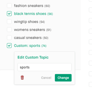 Screenshot of setting and filtering a keyword list by a custom Popular Topic in Twinword Ideas.