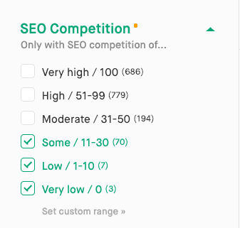 Screenshot of SEO competition filter