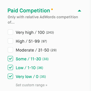 Screenshot of paid competition filter.