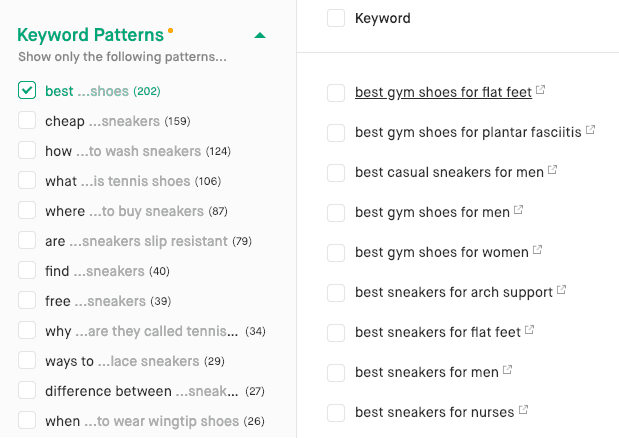 screenshot of keyword pattern filter.
