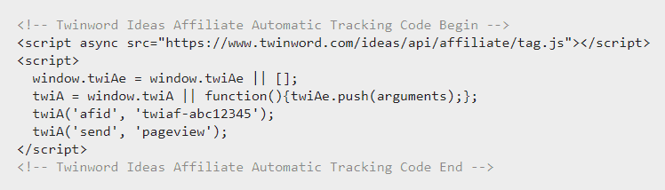 Twinword Ideas Affiliate Automatic Tracking Code Snippet Screenshot