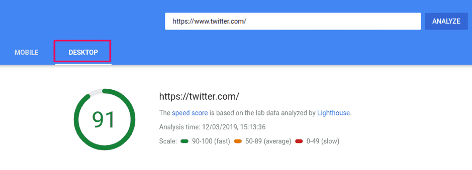 Google's pagespeed insight tool showing page speed results for the desktop version of one's website.