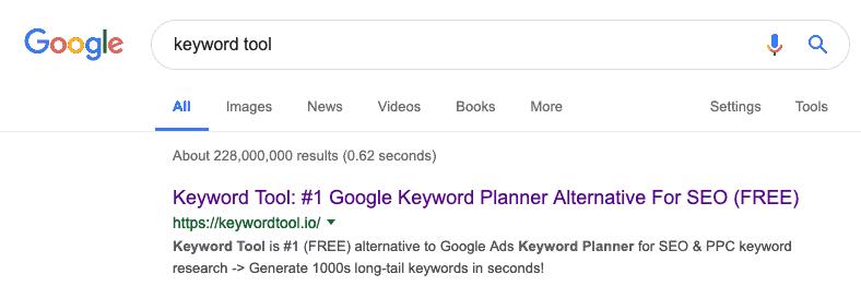 SERP 'Keyword Tool'