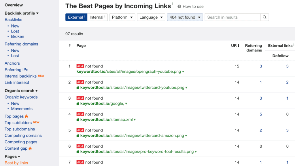 Ahrefs Best by links and sort by 404 errors