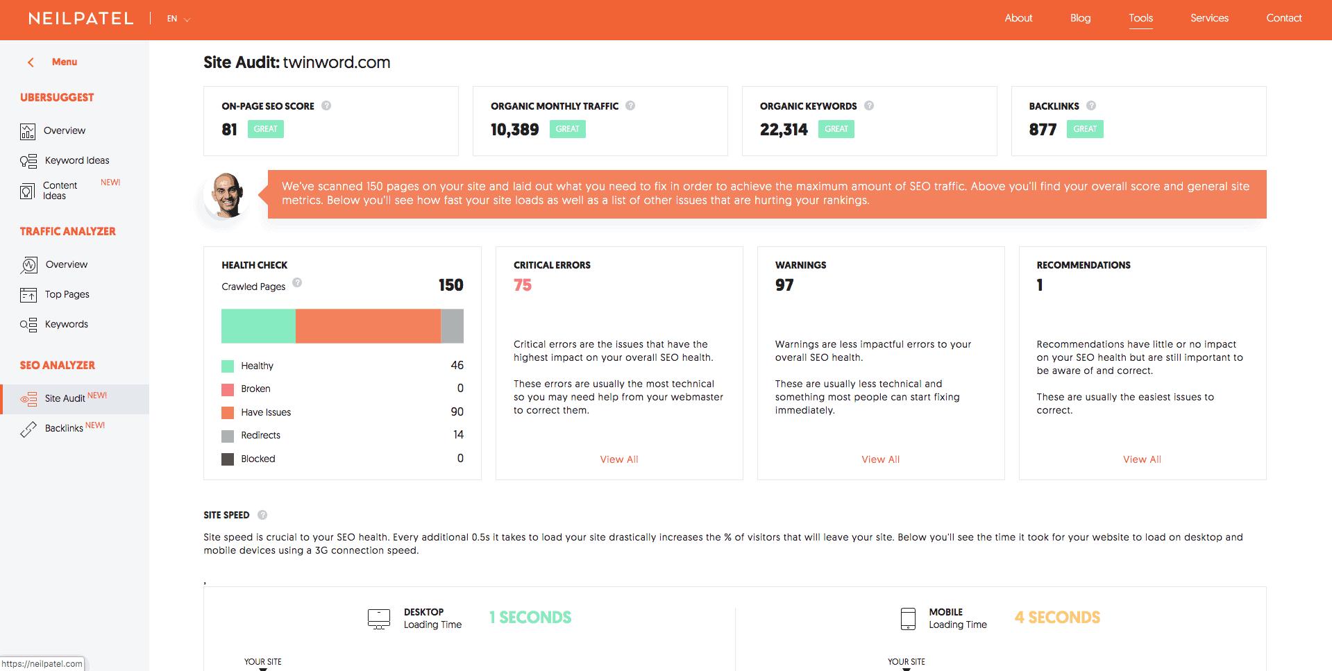 Neil Patel SEO analyzer tool