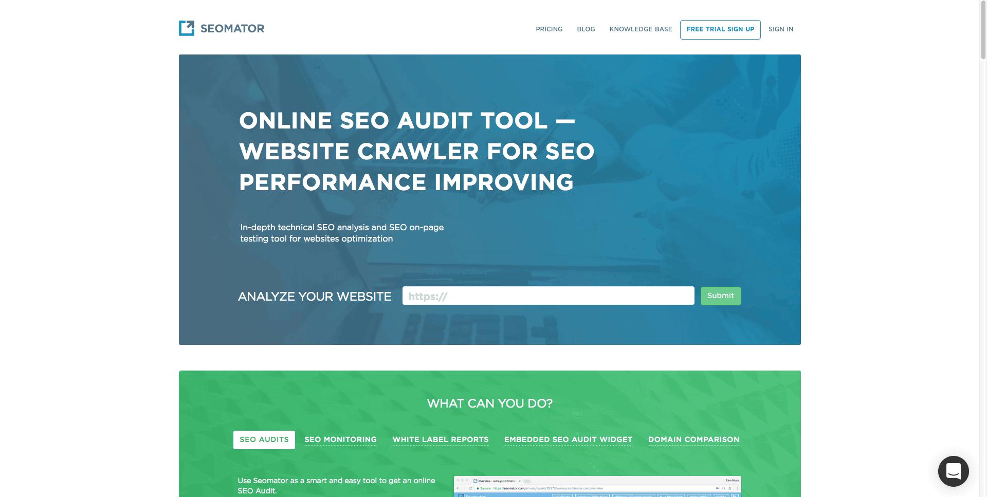 SEOmator SEO audit tool.