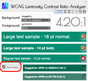 Screenshot of chrome extension that helps to find color contrast ratio.