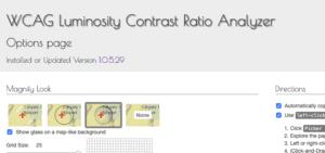 Screenshot of color contrast ratio checking chrome extension.