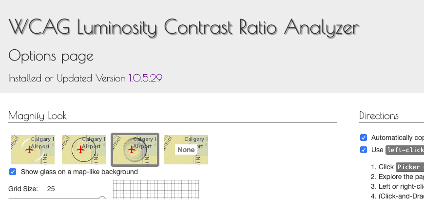 Screenshot of color contrast ratio checking chrome extension.