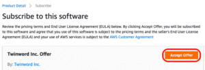 Screenshot of AWS Sagemaker with the button to accept offer.