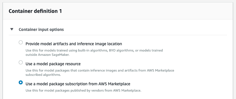 Screenshot of container definition 1 field in AWS Sagemaker.