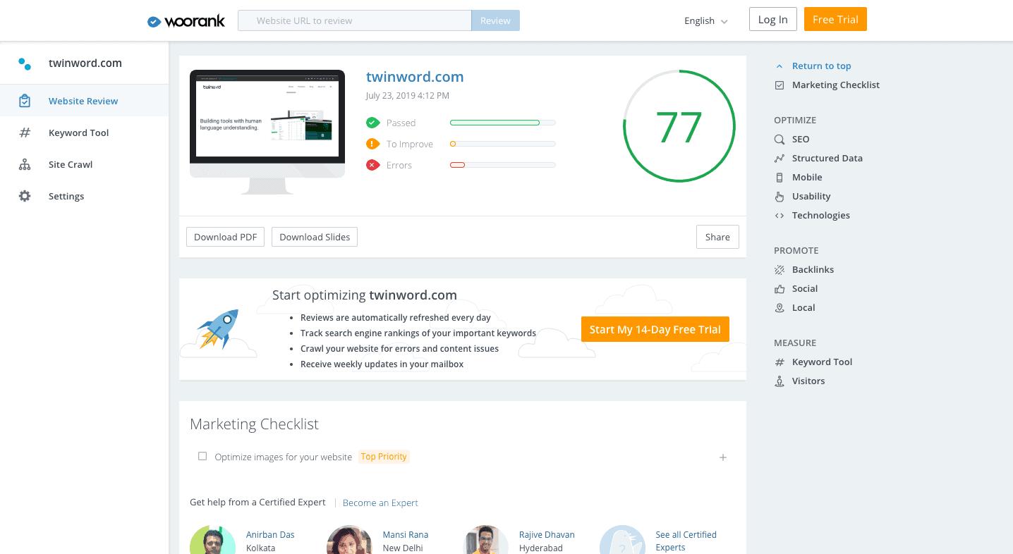 Woorank SEO audit tool.