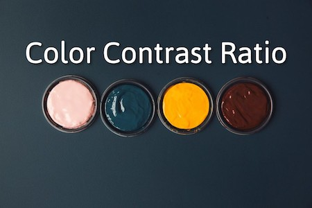 "paints with different colors and the heading ""Color Contrast Ratio""."