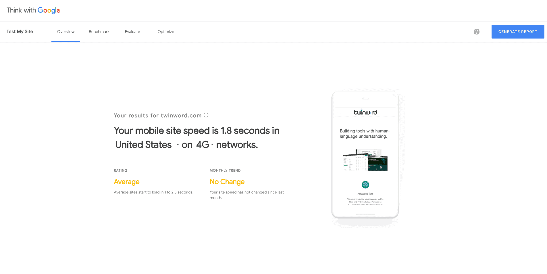 google mobile website speed tester.