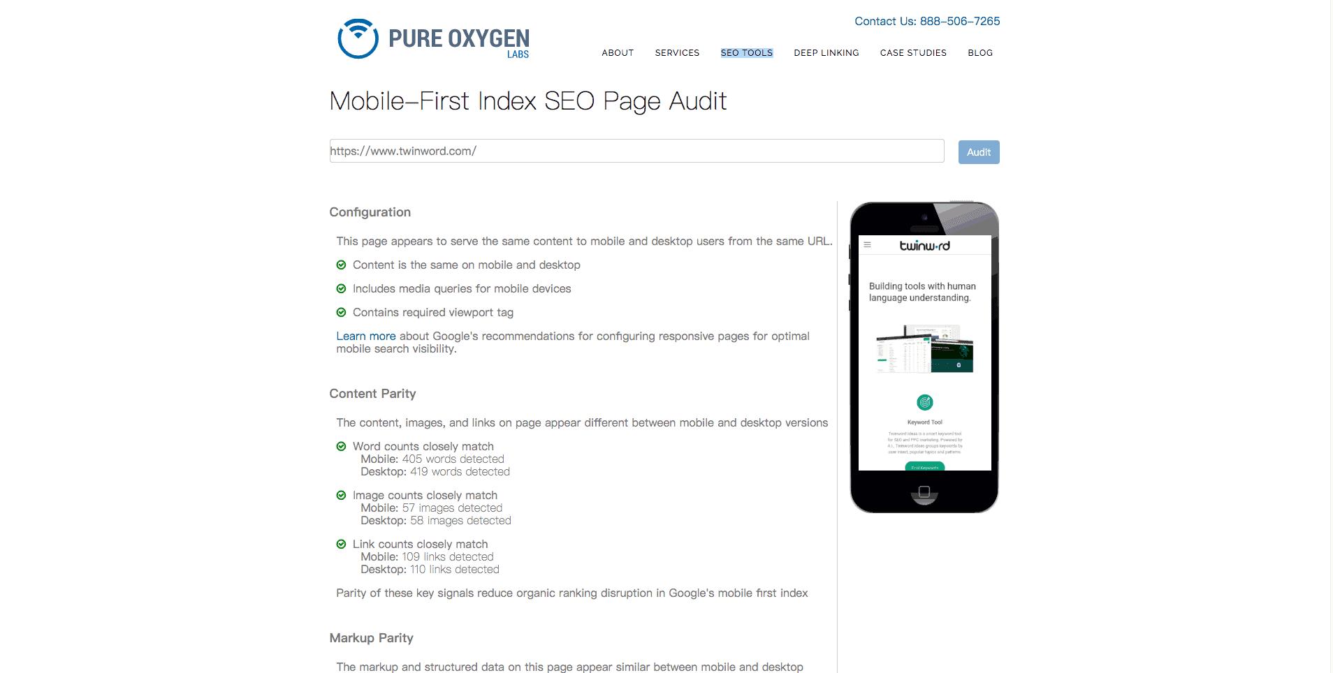 screenshot of mobile seo audit tool.
