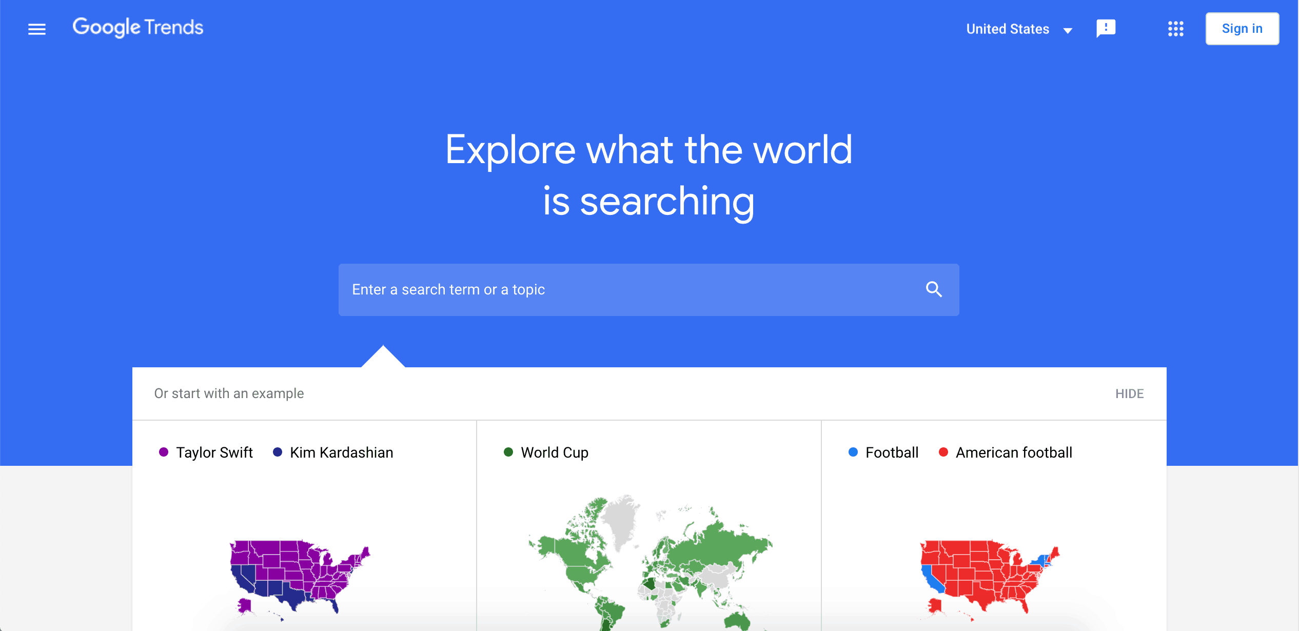 Screenshot of Google Trends - Keyword Research